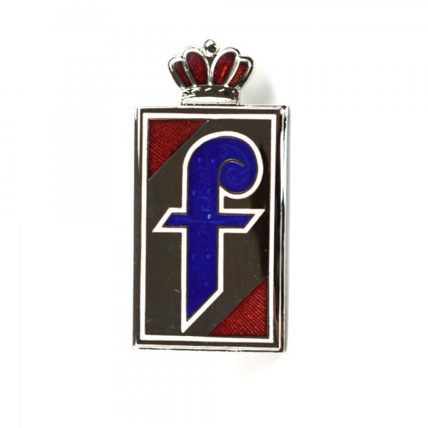 PININFARINA emblema atornillada lateralmente con corona roja esmaltada Fiat 124 Spider